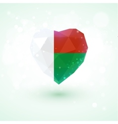 Madagascar flag in shape diamond glass heart vector