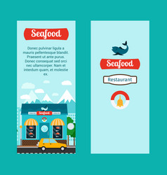 Seafood vertical flyers with shop building vector