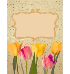 Paper with beautiful tulips with polka dot EPS 10 vector image