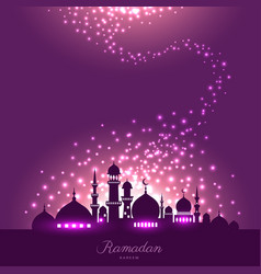 Mosque silhouette in night sky and magic light vector