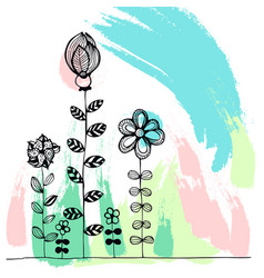 doodle flowers on a colourful background vector image