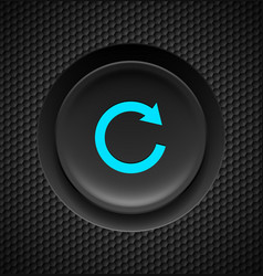 Black button with blue repeat sign on carbon vector