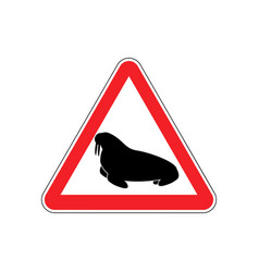 Walrus warning sign red seal hazard attention vector