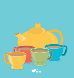 teapot and color cups eps 10 vector image