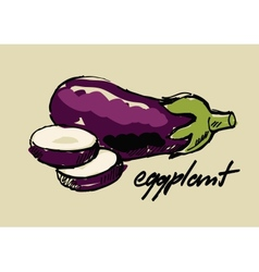 Hand drawn eggplant vector