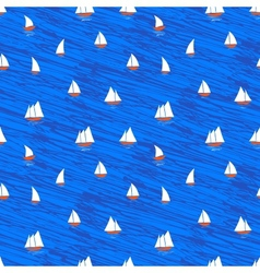 Nautical pattern with small boats on blue waves vector image