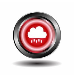 Cloud and rain icon button vector