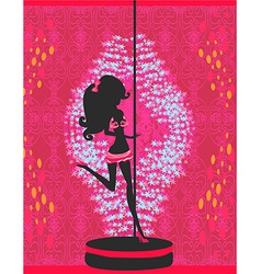 Silhouette of a pole dancer vector