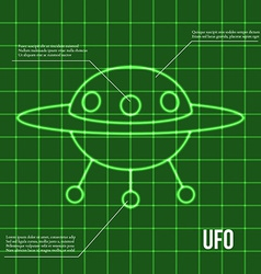 Ufo flying disc indicator on retro display vector