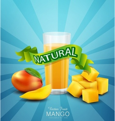 Background with mango and glass of mango juice vector