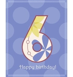 Happy birthday six card vector