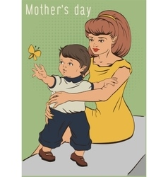 Mothers day young mother and little son retro vector