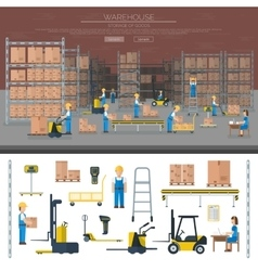 Warehouse worker taking package in shelf logistic vector