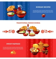 Russian cuisine flag colors banners set vector