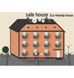 Residential three-story brick house vector