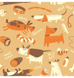 Seamless pattern with cartoon funny dogs vector