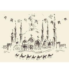 Skyline mosque caravan camels ramadan kareem drawn vector