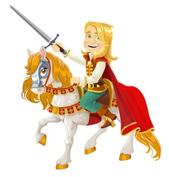 Prince charming on a white horse vector