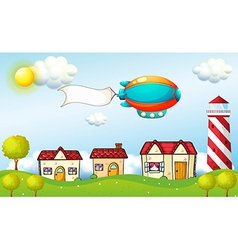 An aircraft with a signage above the village vector image vector image