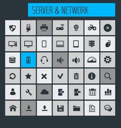 big computer networks icon set vector image vector image