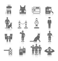 Border guard icon set vector
