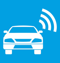 Car with wifi sign icon white vector