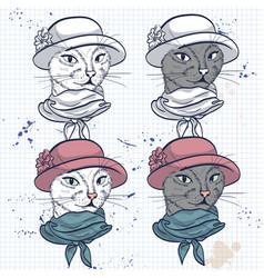 Color set of elegant cat women face vector