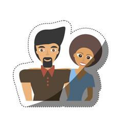 Couple multiracial happy lovely shadow vector