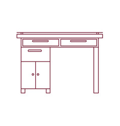Dark red line contour of wooden home desk with vector