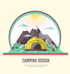 Flat design of vintage landscape and camping tent vector
