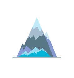 Ice mountain peak icon in flat style vector