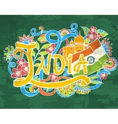 India art abstract hand lettering and doodles vector image