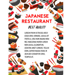 Japanese food restaurant banner with sushi frame vector