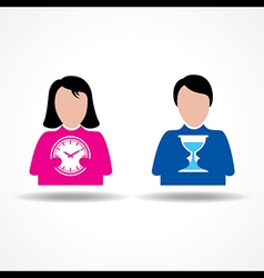 Male and Female icon having clock stock vector image vector image