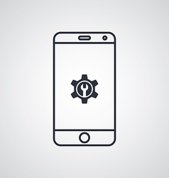 mobile phone cog setting icon theme vector image