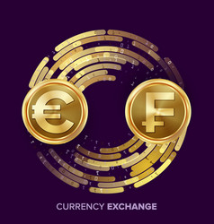 Money currency exchange euro franc vector