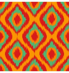 orange Wild green and red Ikat Seamless Background vector image