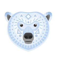 Polar bear head logo white bear decorative vector