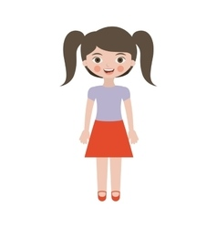 Pretty girl with ponytails and skirt vector