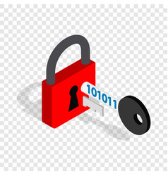 Red padlock and key isometric icon vector