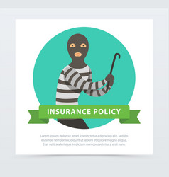 Robber in mask with crowbar property protection vector