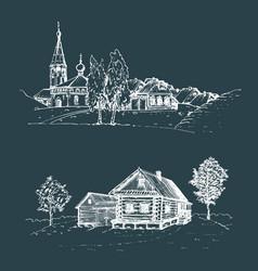 rural landscape set hand vector image vector image