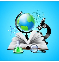 Science tools composition on blue background vector image vector image