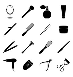 Set of black beauty icons vector