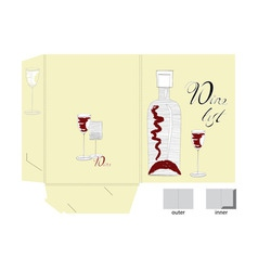 template for folder design with wine glass and bot vector image vector image