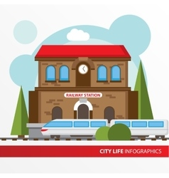 Train station building icon in the flat style vector