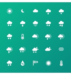 Weather icons on green background vector image
