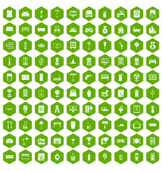 100 home icons hexagon green vector