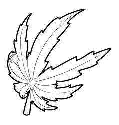 Marijuana leaf icon outline style vector image