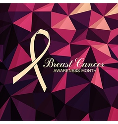 Ribbon of breast cancer on abstract pink vector